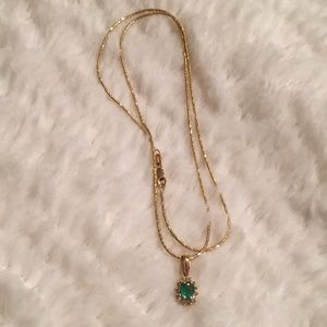 "18"" Gold Chain with Emerald & Diamond Pendant"